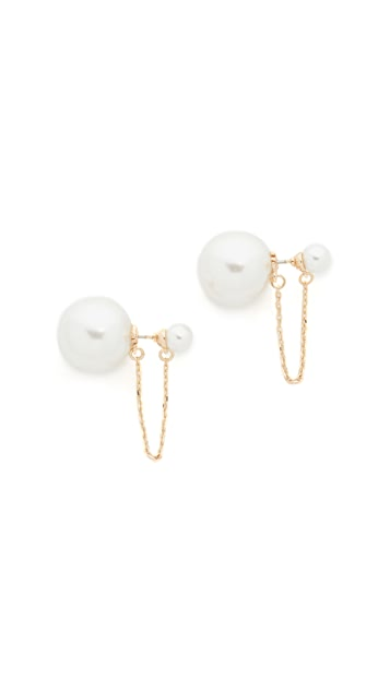 Rebecca Minkoff Imitation Pearl Chain Front Back Earrings