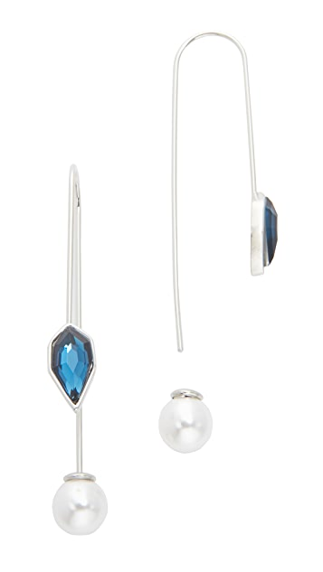 Rebecca Minkoff Stone & Imitation Pearl Threader Earrings