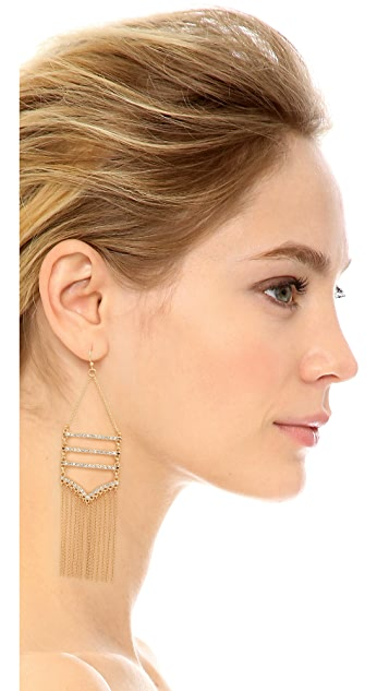 Rebecca Minkoff Drama Pave Fringe Chandelier Earrings