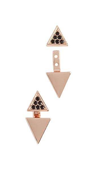 Rebecca Minkoff Double Triangle Front to Back Earrings