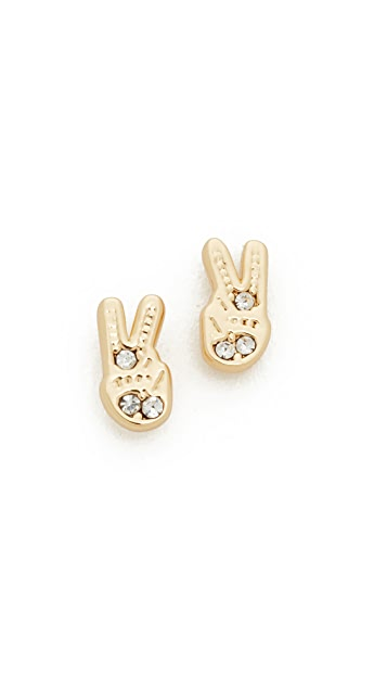 Rebecca Minkoff Peace Sign Stud Earrings