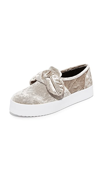 Rebecca Minkoff Stacey Stud Bow Sneakers - Putty