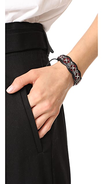 Rebecca Minkoff Embroidered Guitar Strap Bracelet