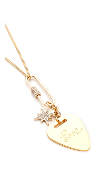 Rebecca Minkoff Love Guitar Pick Pendant Necklace