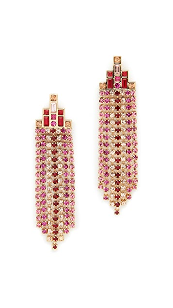 Rebecca Minkoff Baguette Stone Fringe Earrings