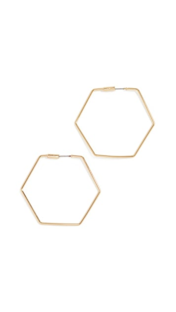 Rebecca Minkoff Hexagonal Hoop Earrings