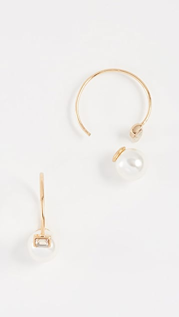Rebecca Minkoff Baby Imitation Pearl & Stone Threader Huggie Earrings