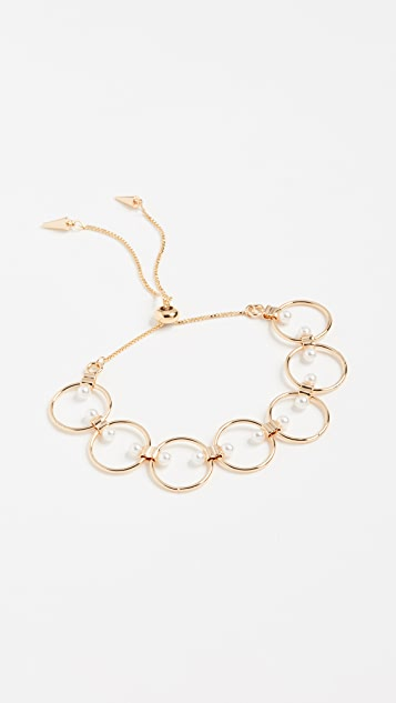 Rebecca Minkoff Encircled Floating Pearls Pulley Bracelet