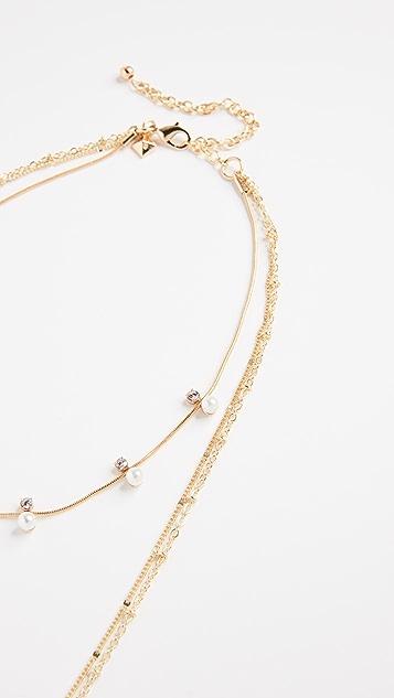 Rebecca Minkoff Imitation Pearl and Stone Multi Layer Chain Necklace