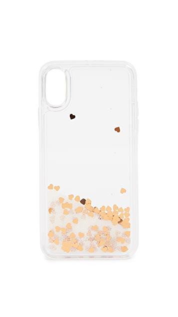 Rebecca Minkoff Confetti Hearts Glitterfall iPhone X Case