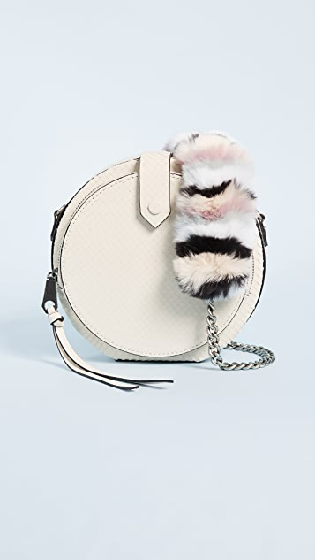 Rebecca Minkoff Mini Canteen Bag with Multi Fur Strap - Ecru