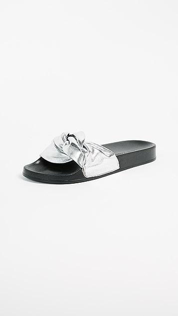 Rebecca Minkoff Samara Mule Slides - Silver