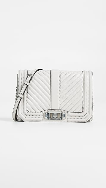 Rebecca Minkoff Chevron Quilted Love Crossbody Bag - Putty