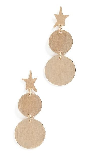 Rebecca Minkoff Star Girl Medallion Double Drop Earrings
