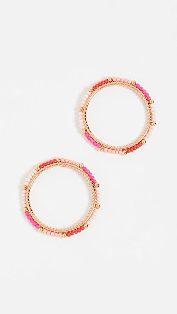Rebecca Minkoff Front Facing Beaded Hoop Earrings - Pink Multi