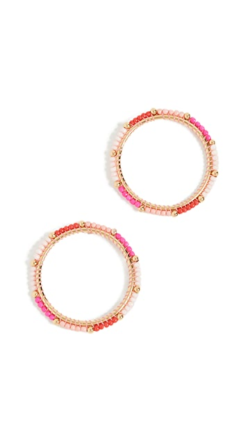 Rebecca Minkoff Front Facing Beaded Hoop Earrings