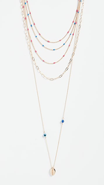Rebecca Minkoff Beachy Layered Chains Necklace