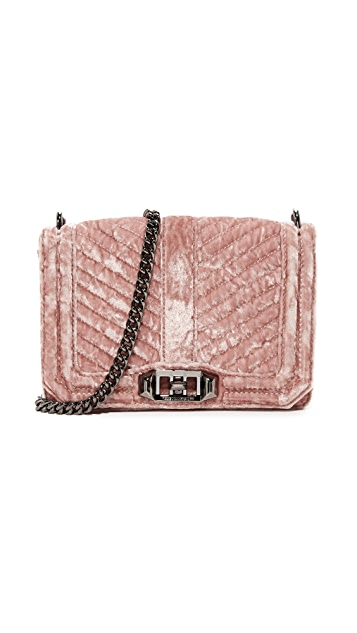 Rebecca Minkoff Маленькая стеганая сумка через плечо Love с шевронами из жатого бархата