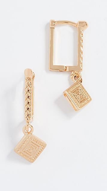 Rebecca Minkoff Huggie Earrings with Etched Charm