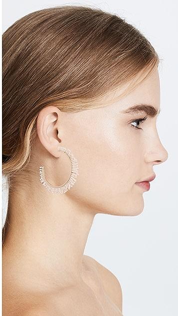 Rebecca Minkoff Beaded Fringe Hoop Earrings