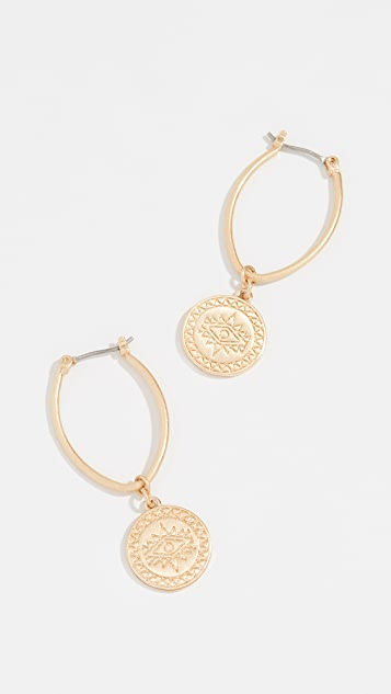 Rebecca Minkoff Etched Coin Hoop Earrings