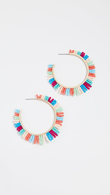Rebecca Minkoff Beaded Spikey Fringe Hoop Earrings