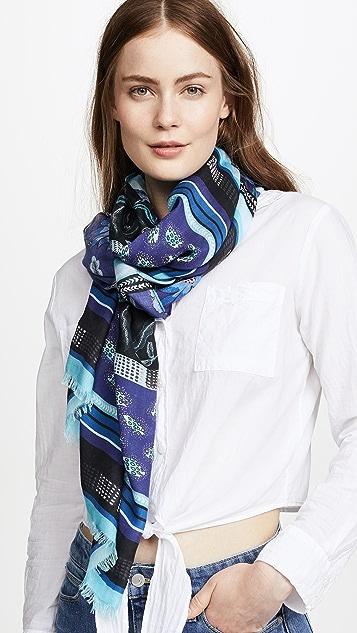 Rebecca Minkoff Floral Stripe Oblong Scarf