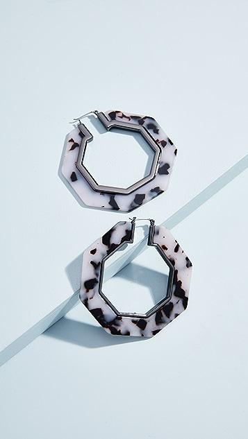 Rebecca Minkoff Восьмиугольные полимерные серьги-кольца