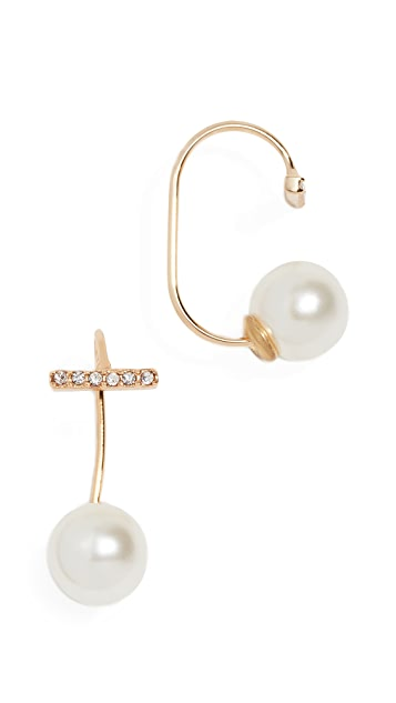 Rebecca Minkoff Pearl and Pave Bar Threader Earrings