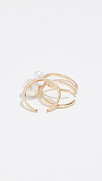 Rebecca Minkoff Sophia Solo Imitation Pearl Ring Set