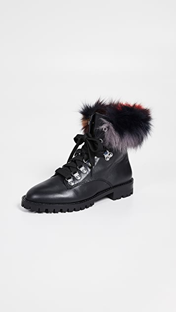 Rebecca Minkoff Jaylin Fur Combat Boots - Black/Multi
