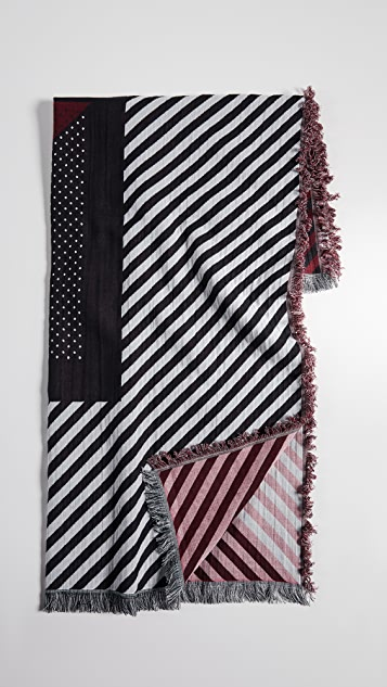 Rebecca Minkoff Dots and Stripes Fringed Square Scarf