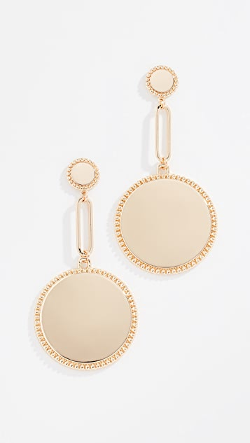 Rebecca Minkoff Double Medallion Drop Earrings - Yellow Gold