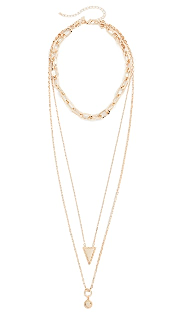 Rebecca Minkoff Bead Edge Medallion Layered Necklace