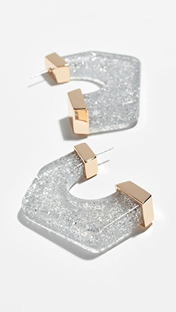 Rebecca Minkoff Glitter Resin Hoop Earrings