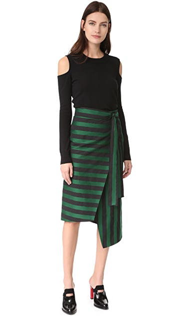 Rochas Striped Wrap Skirt