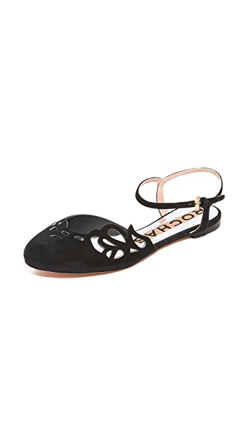 Rochas Ankle Strap Flats
