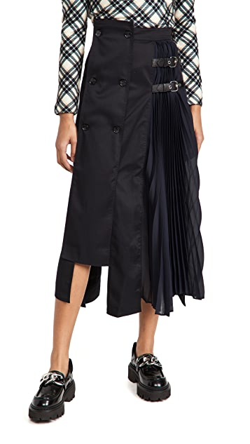 ROKH Slashed Pleated Midi Skirt