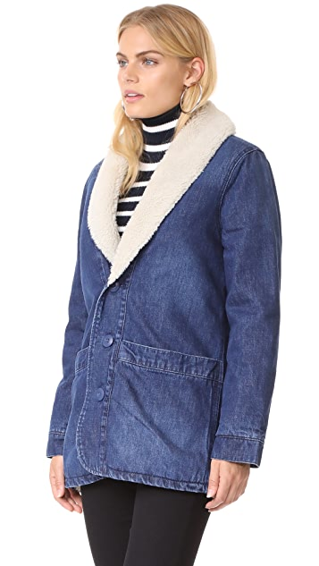 Rolla's Denim Pea Coat with Sherpa Lining