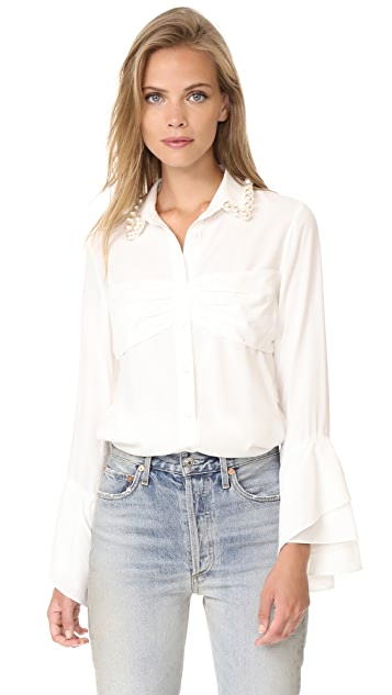 Romanchic Imitation Pearls On Collar Blouse