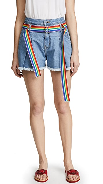 Romanchic Denim Shorts with Rainbow Belt