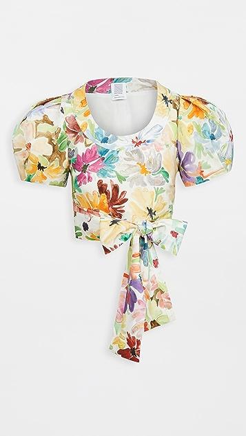 Rosie Assoulin Puff Sleeve Crop Top
