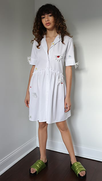 Rosie Assoulin Short Gathered Shirtdress