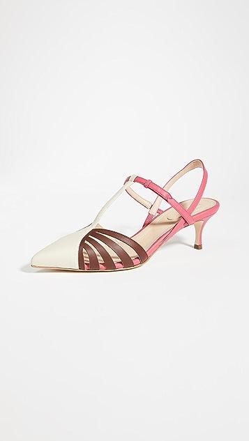 Rosie Assoulin Charisse 露跟格子网眼高跟鞋