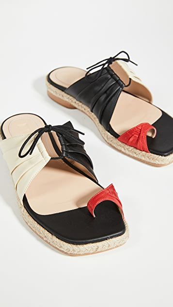 Rosie Assoulin Pleated Funky Toe Espadrille Slides