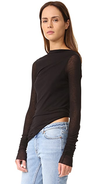 Rick Owens Lilies Long Sleeve Top with Open Back