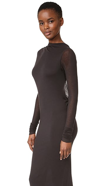 Rick Owens Lilies Long Sleeve Dress with Open Back