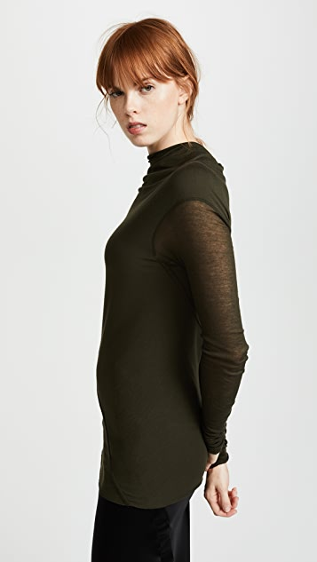 Rick Owens Lilies Long Sleeve Mock Neck Top