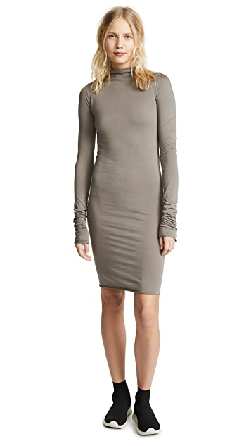 Rick Owens Lilies Mock Neck Long Sleeve Dress
