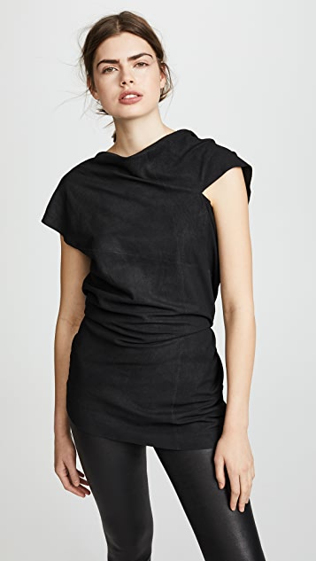 Rick Owens Lilies Leather Short Sleeve Top